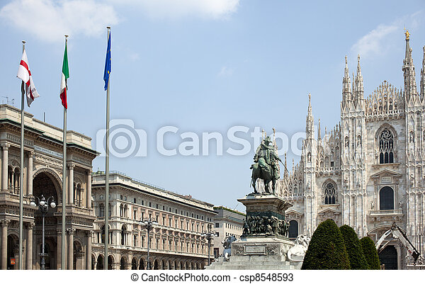 Vittorio Emanuele II monument in Milan - csp8548593