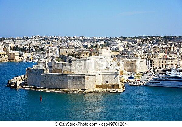 Vittoriosa and Fort St Angelo, Malta. - csp49761204