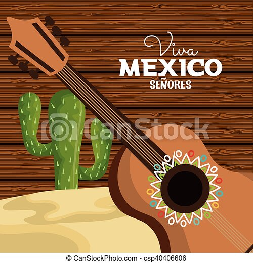 b956a83f62aa5 Viva Mexico Guitar And Cactus Viva Mexico Graphic