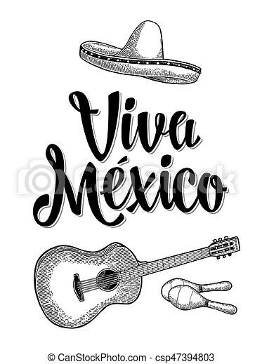 Viva Letras Sombrero México Guitarra Maracas Grabado