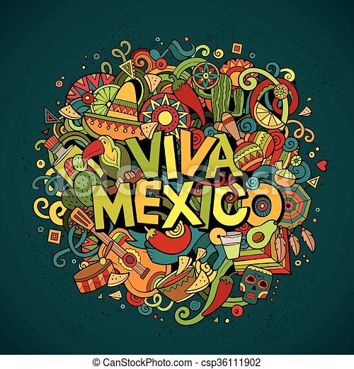 Viva Mexico sketchy outline festive background - csp36111902