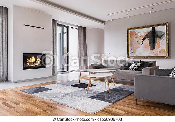 Vivant Cheminee Salle Salle De Sejour Modele Moderne Sofa Cheminee Balcon Moquette Canstock