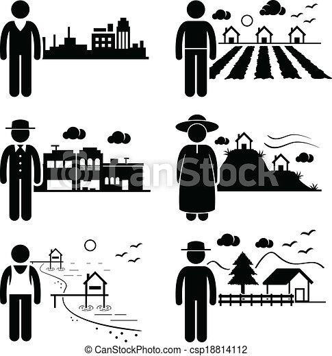 vivant, différent, endroits, gens - csp18814112