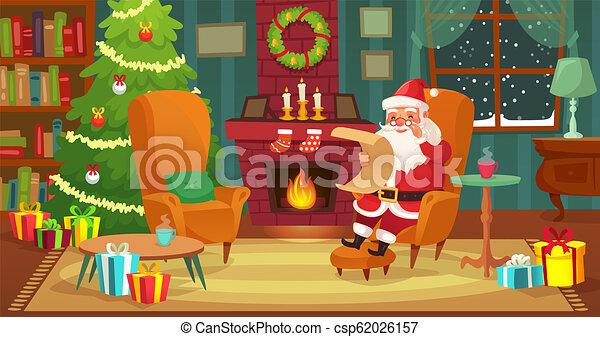 Vivant Hiver Claus Arbre Illustration Noel Vecteur Santa Interior Decore Vacances Cheminee Noel Dessin Anime Salle
