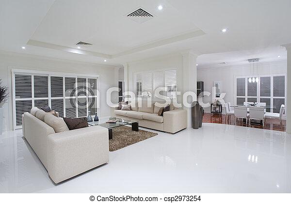 vivant, luxueux, salles manger, fond, table - csp2973254