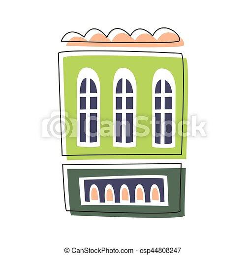 Vivant Mignon Simple Esquissé Ville Maison élément Conte Vert Illustration Fée Dessin Animé Paysage