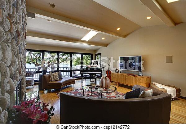 Vivant, pierre, salle, moderne, luxe, intérieur, maison, fireplace ...