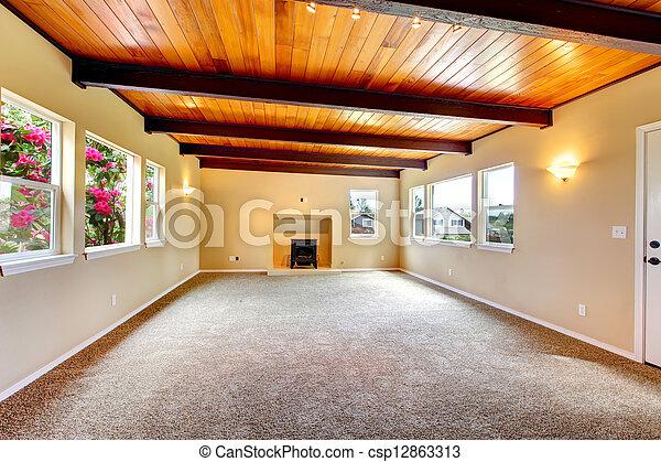 vivant, plafond, salle, grand, bois, nouveau, fireplace., vide - csp12863313