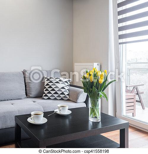vivendo, confortável, sala, sofá - csp41558198