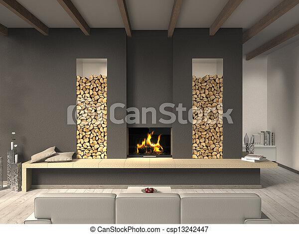 vivendo, estilo, sala, país, fictitious, lareira - csp13242447