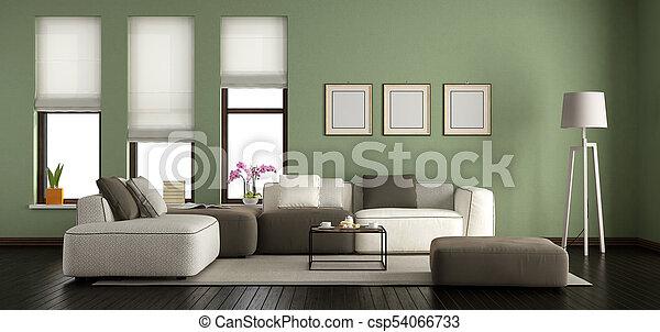 vivendo, modernos, verde, sala - csp54066733