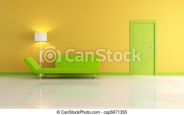 vivendo, porta verde, sala, amarela - csp5671355