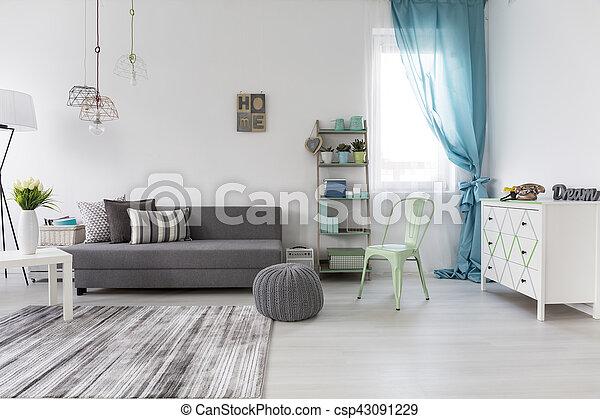 vivendo, sofá, espaçoso, sala, confortável - csp43091229