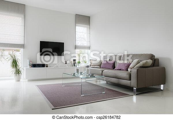 vivendo, taupe, sala, sofá couro, branca - csp26184782