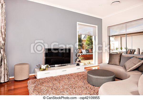 Vivendo Televisao Sala Casa Modernos Luxuoso Sofas Interior Redondo