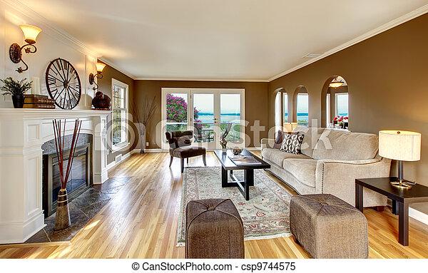 vivente, brown., stanza, marrone, classico, bianco, caminetto