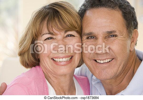 vivente, coppia, stanza, rilassante, sorridente - csp1873684