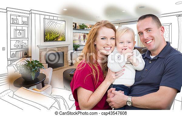 Vivente, stanza famiglia, combinazione, foto, fronte, militare ...