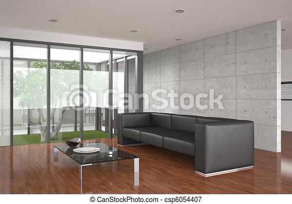 vivente, stanza moderna, pavimento parchè