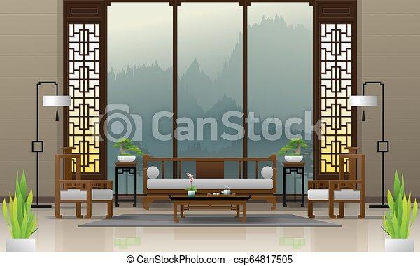 vivente, stile, stanza, cinese, 1, lusso, fondo, interno, mobilia - csp64817505