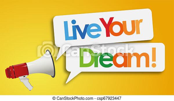 vivere, megafono, sogno, tuo - csp67923447