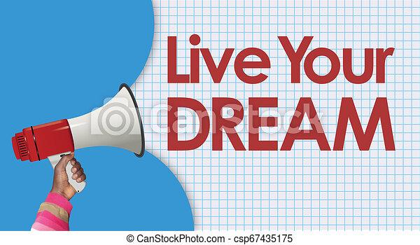 vivere, megafono, sogno, tuo, parole - csp67435175