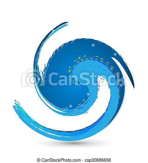 Vivid blue beach wave logo - csp30686656