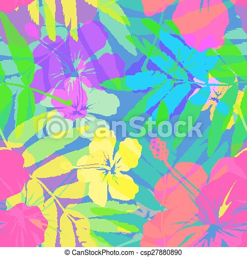 Vivid colors bright tropical flowers vector seamless pattern - csp27880890