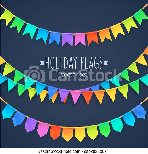 Vivid colors rainbow flags garlands set isolated on dark background - csp28238071