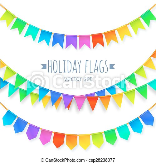 Vivid colors rainbow flags garlands set isolated on white background - csp28238077