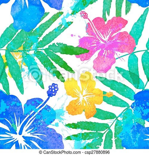 Vivid colors tropical flowers vector seamless pattern - csp27880896