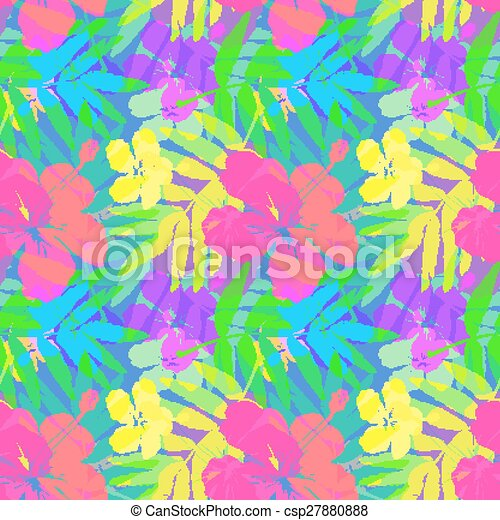 Vivid tropical flowers and leaves vector seamless pattern - csp27880888