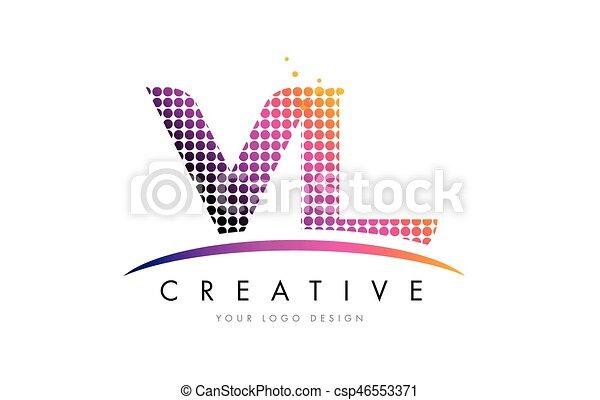 Vl V L Letter Logo Design With Magenta Dots And Swoosh