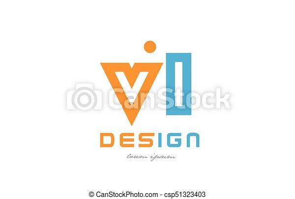 Vl V L Orange Blue Alphabet Letter Logo Combination
