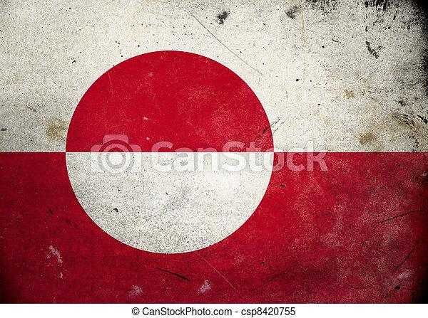 vlag, groenland, grunge - csp8420755