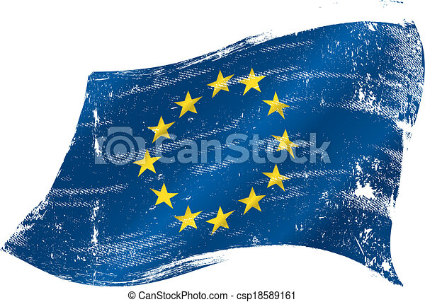 vlag, grunge, europeaan - csp18589161