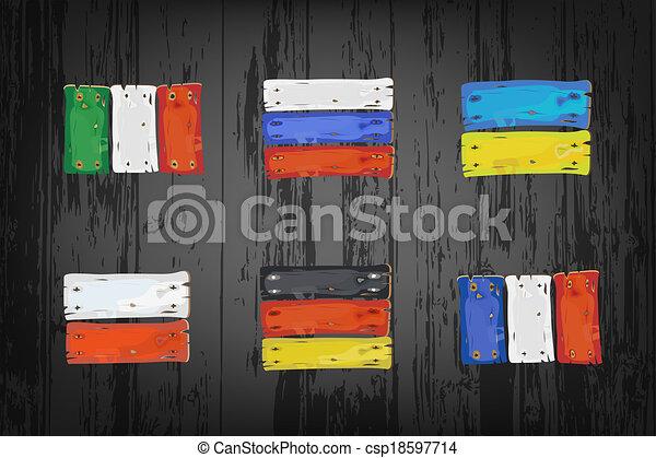 vlaggen, europeaan, landen, houten - csp18597714