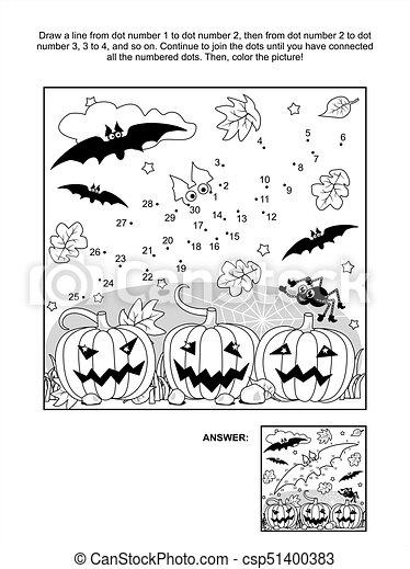 Raadsels Halloween.Vleermuis Kleuren Halloween Dot To Dot Pagina