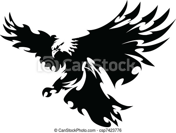 vleugels, adelaar, mascotte, ontwerp, vliegen - csp7423776