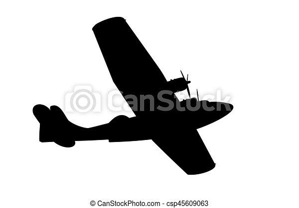 vliegen, silhouette, scheepje - csp45609063