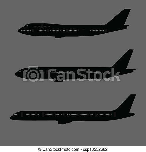vliegtuig, bovenkant, silhouettes, aanzicht - csp10552662