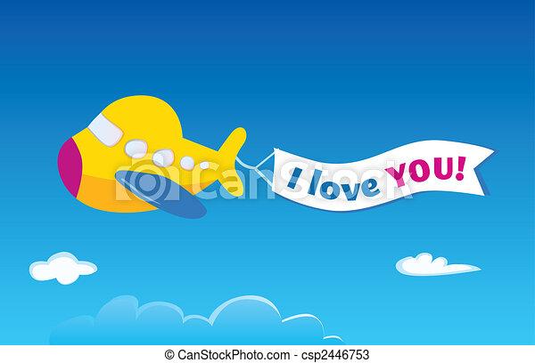 vliegtuig, gele - csp2446753