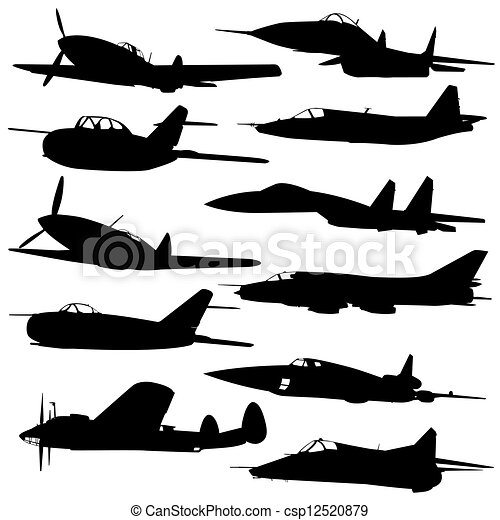 vliegtuig, gevecht, verzameling, anders, silhouettes. - csp12520879