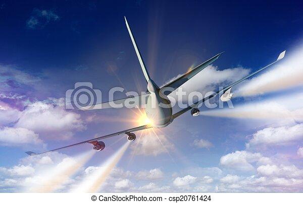 Vliegtuig Het Reizen Concept Contrails Commercieel Illustratie