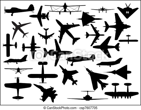 vliegtuig, silhouettes - csp7607705