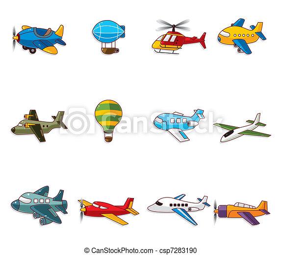 vliegtuig, spotprent, pictogram - csp7283190