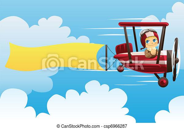 vliegtuig, verdragend, spandoek - csp6966287
