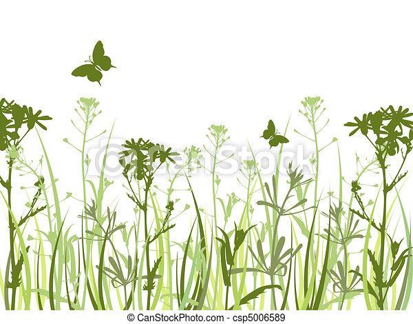 vlinder, achtergrond, bloemen, groene - csp5006589