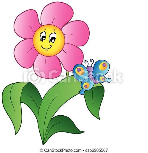 vlinder, bloem, spotprent - csp6305507