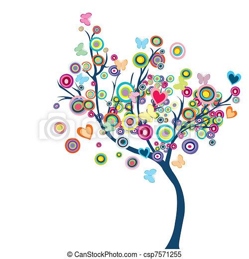 vlinder, bloemen, boompje, gekleurde, vrolijke  - csp7571255
